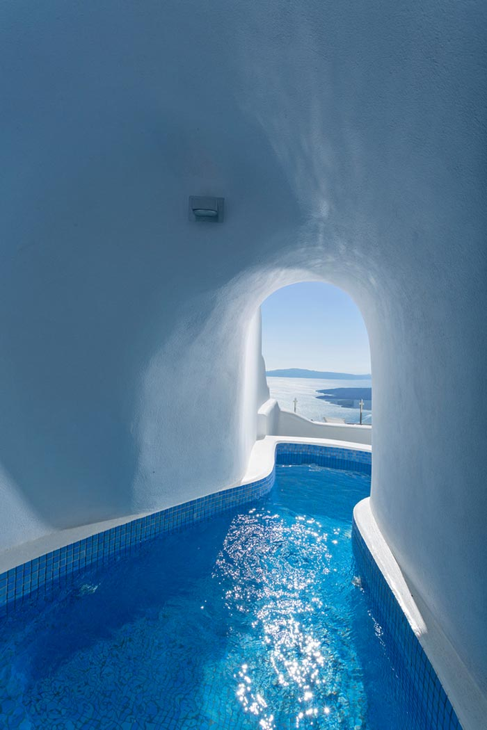 Santorini indoor swimming pool cave