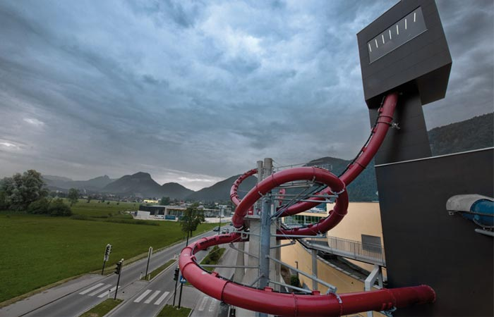 L2 Double Loop Water Slide at Wave in Worgl, Austria
