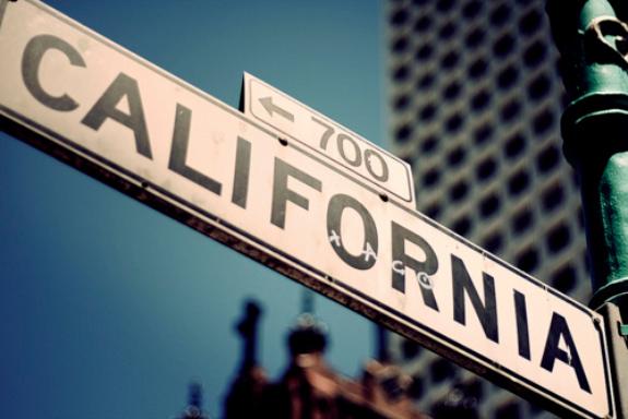 Sunny California road sign