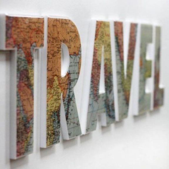 Mapped travel typography
