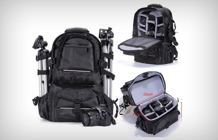 2xhome Large Deluxe Pro Photo Studio Camera Case Carry Shoulder Travel Bag and Photography Backpack
