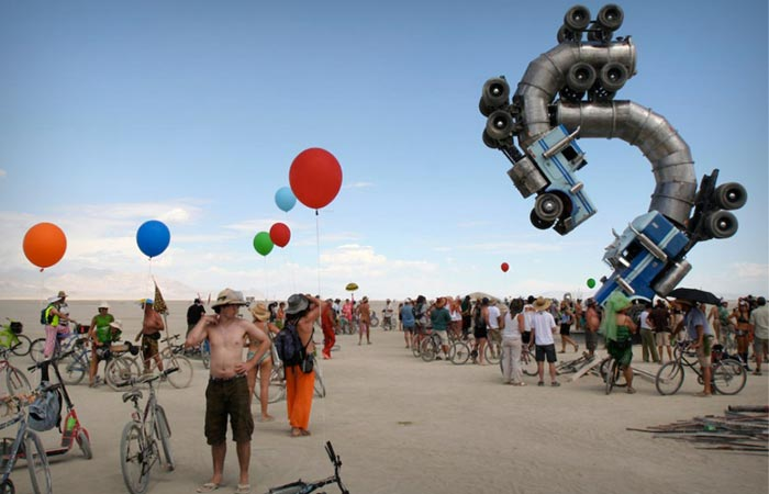 Cool bent trucks at Burning Man Festival