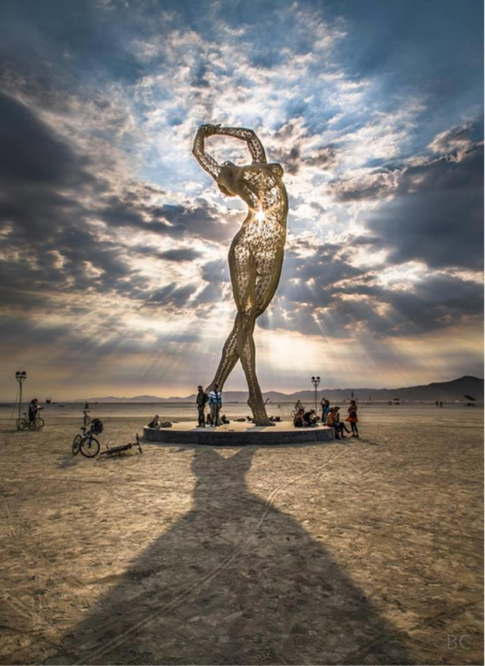 Huge statue of a women at Burning Man Festival