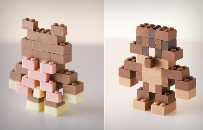 Edible chocolate lego figurines
