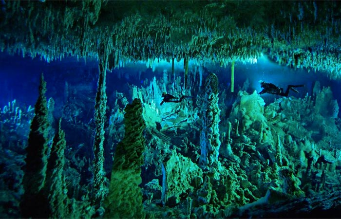 Stalagmites at the Great Blue Hole in Belize