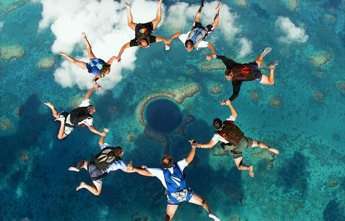 Skydiving above Great Blue Hole in Belize