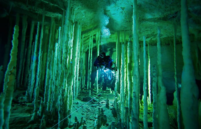 Underwater stalagmites at Great Blue Hole in Belize