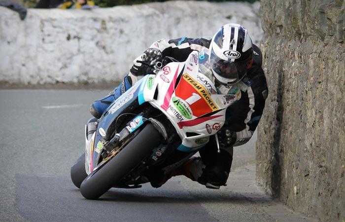 Isle of Man TT race tight corner