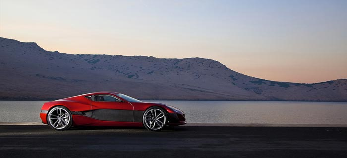 Side view of the Rimac Concept One Electric Supercar