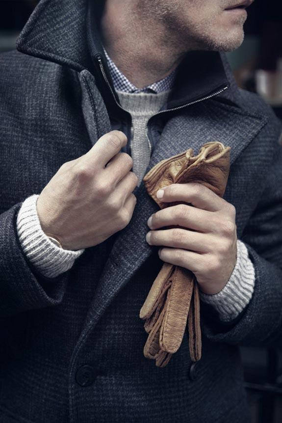 Men buttoning his coat