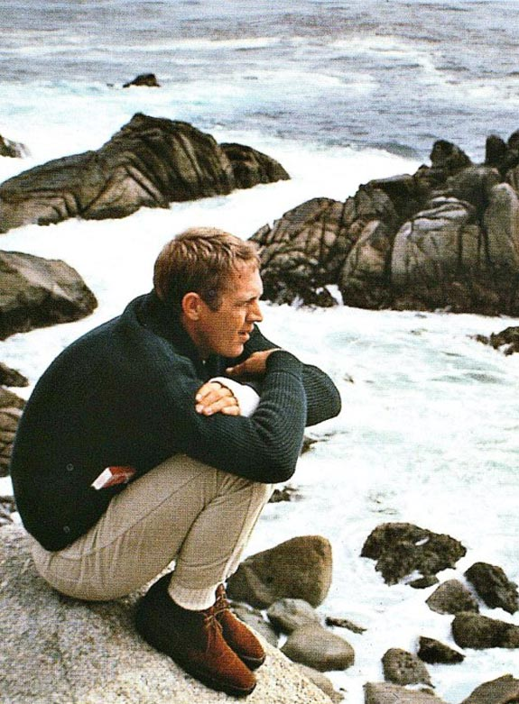 Steve Mcqueen thinking next to the ocean