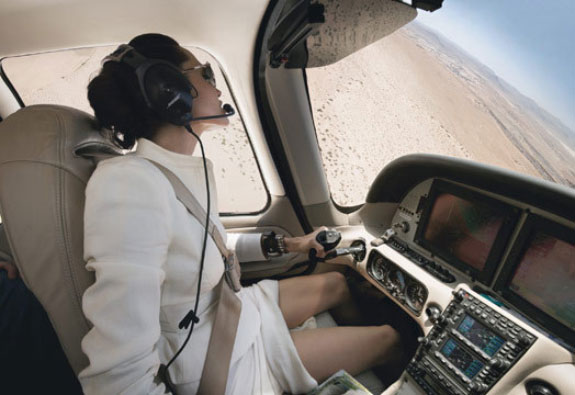 Sexy Angelina Jolie's driving an airplane