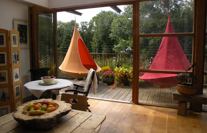 Cacoon hanging tent set up in a home