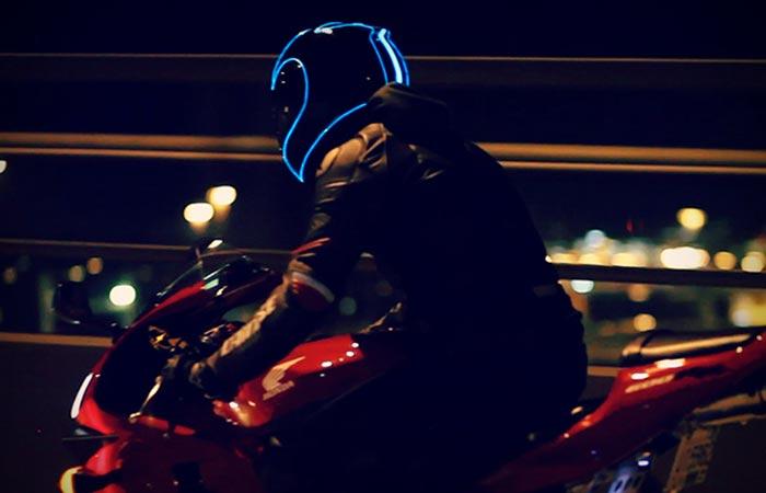 Electroluminescent motorcycle helmet