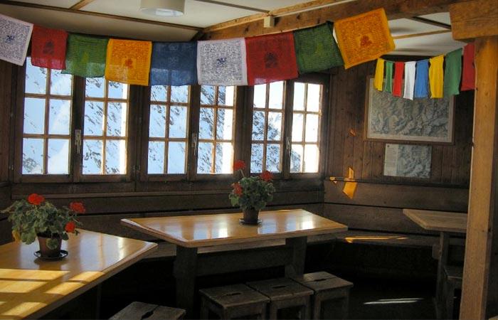 Inside the Bertol Hut