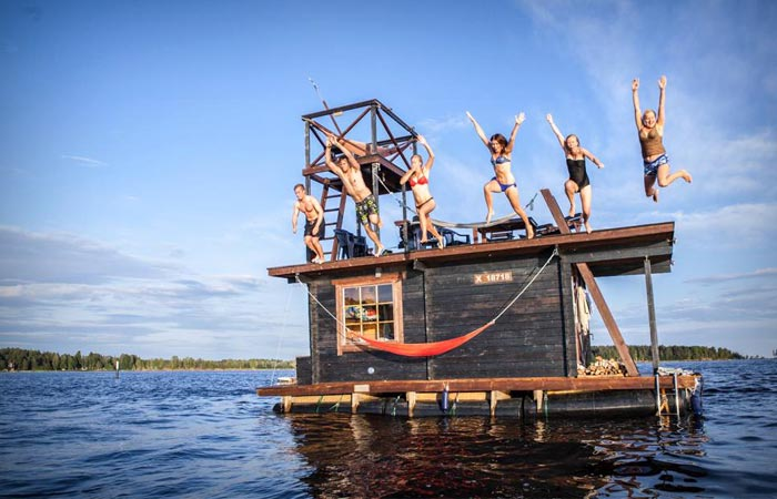 Jumping off the Finnish floating sauna