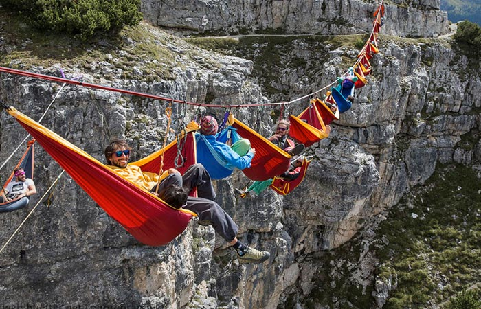 People sleeping in hammocks at the Slackline Festival