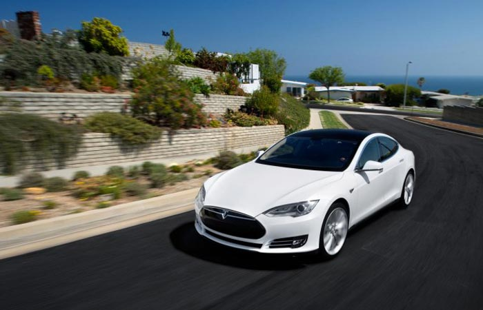 Tesla Model S P85D on the road