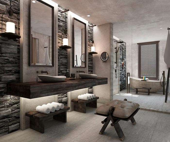 Luxury bathroom at Alila Jabal Akhdar Hotel in Oman