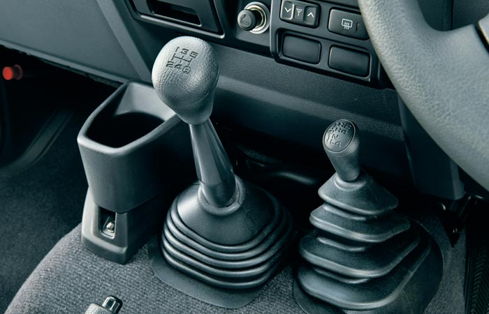 Gear shifter and 4x4 controls in the Toyota Land-Cruiser 70 Series re-release