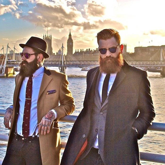 stylish bearded guys in London and DIY beard oil recipes