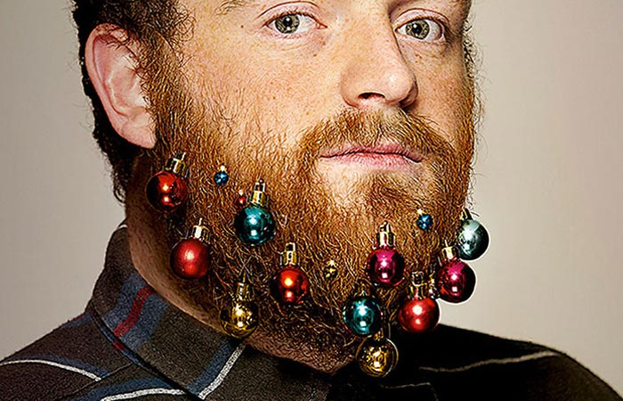 Beard Baubles arranged on a man's beard