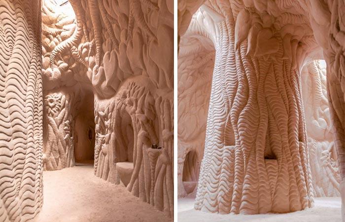 Carved sandstone caves