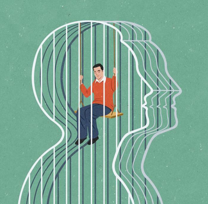 Trapped in the mind satire