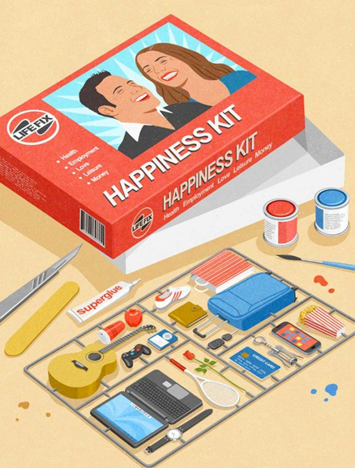 Happiness Kit satire