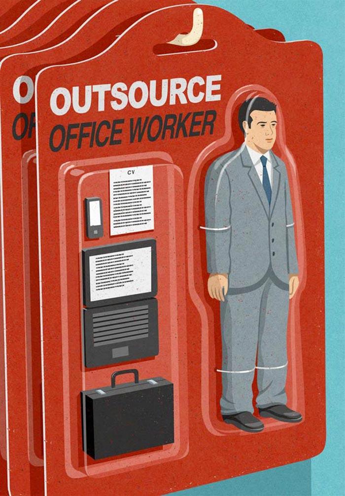Satire John Holcroft office worker
