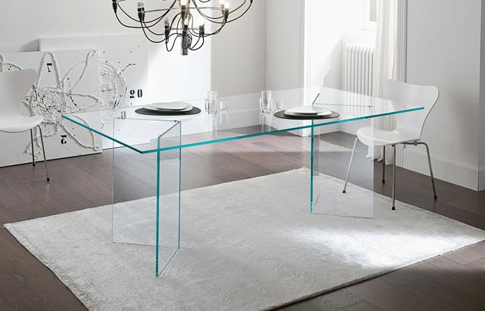 picture clear glass top table of