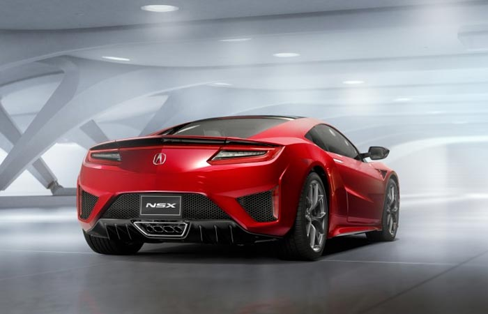 Rear view of the 2016 Acura NSX