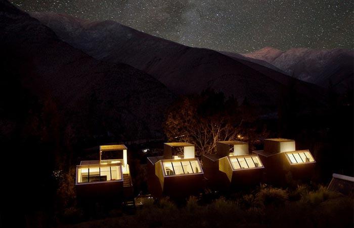Elqui Domos Astronomic Hotel at night