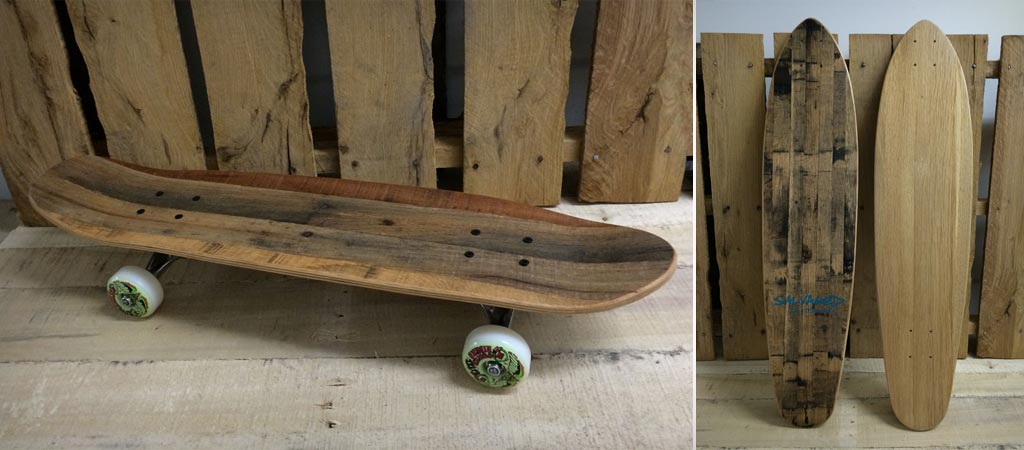 Pallet skateboard from Salvaged Skateboards