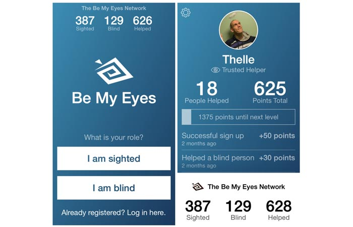 Be my Eyes app for the blind