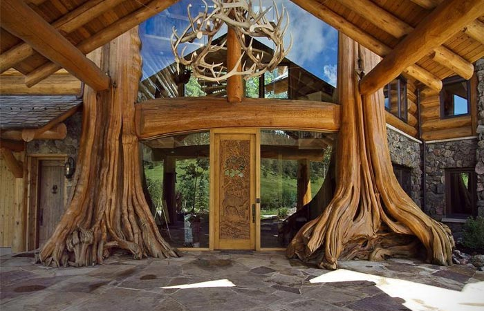 Entrance to a Log Cabin