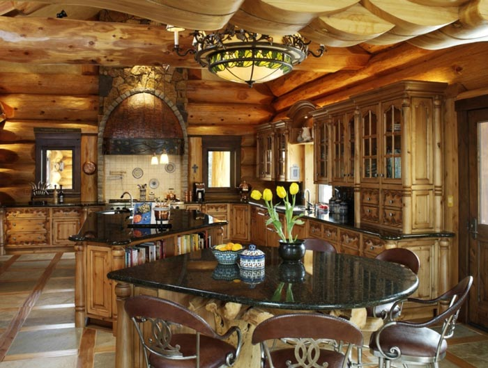 epic log home loveland cabins kitchen
