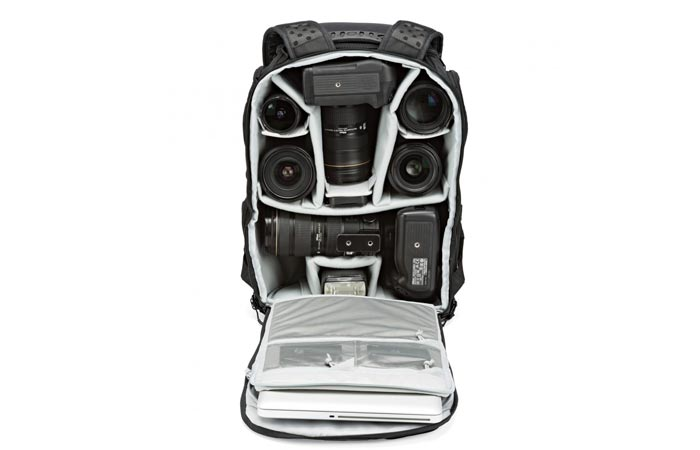 Compartments of the Lowepro Pro Tactic 450 AW camera backpack