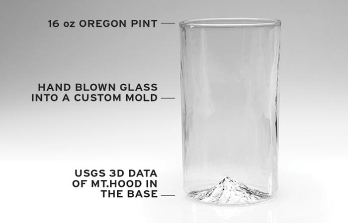 Specs of the North Drinkware 3D mountain pint glass