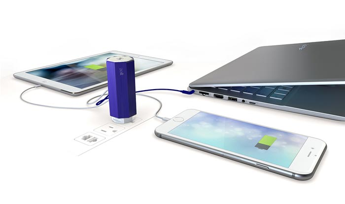 Zolt charger charging multiple gadgets with one plug