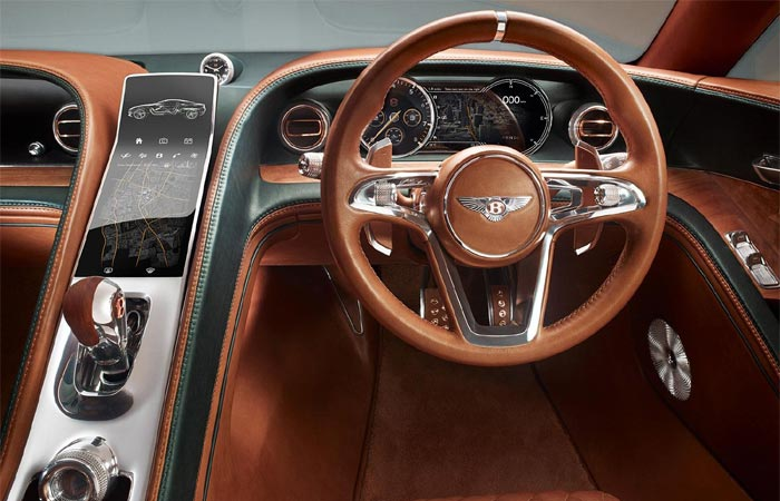 Dashboard view of the Bentley EXP 10 Speed 6