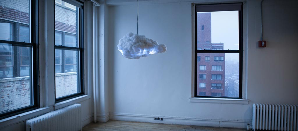 Cloud speaker and lamp by Richard Clarkson