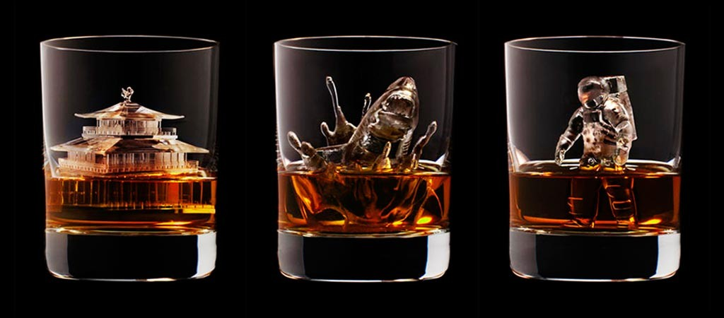 3D Carved Ice Cubes Suntory Whiskey