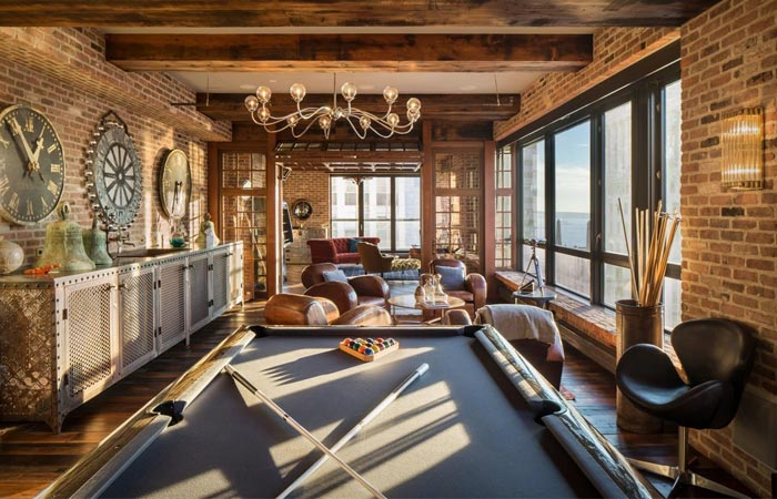 Pool table in Alex Birkenstock NYC penthouse