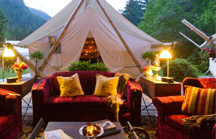 Tent style and decor at Clayoquot Wilderness Resort in Canada