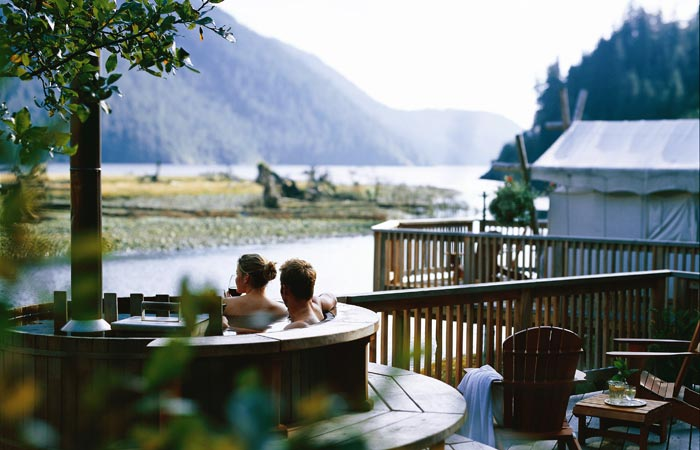 Outdoor hot tub at Clayoquot Wilderness Resort