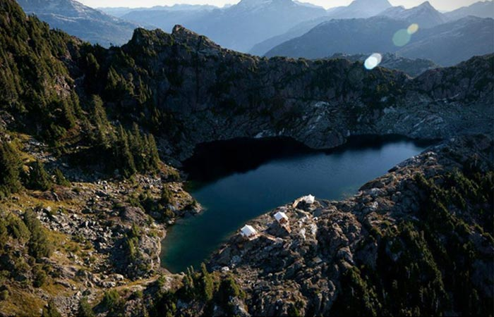 Tents on a cliff accessible by Helicopter in Canada