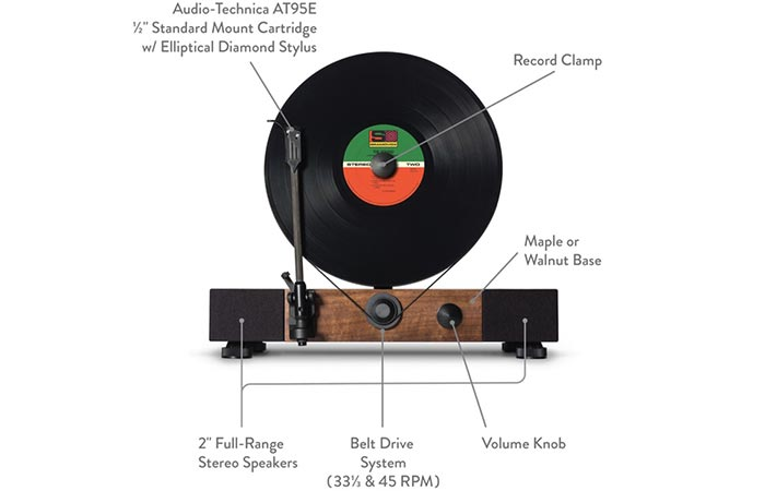 Floating Record Vertical Turntable features and parts