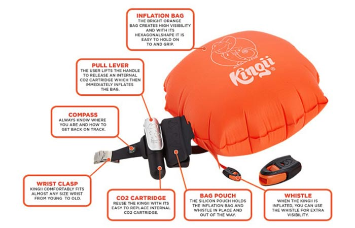 Specification details of the Kingii inflatable floatation device