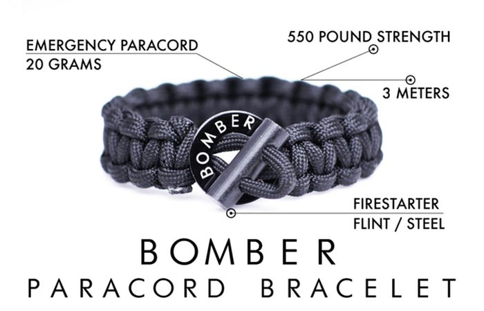 Survival Firestarter Paracord Bracelet features